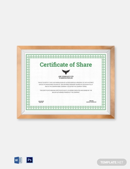 10+ Share Certificate Examples Pdf, Docs | Examples In Template Of Share Certificate