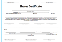 10+ Share Certificate Templates   Word, Excel & Pdf With Regard To Share Certificate Template Pdf