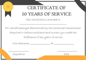 10 Years Service Award Certificate: 10 Templates To Honor In Recognition Of Service Certificate Template