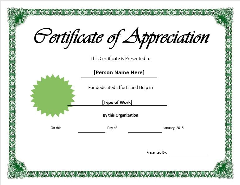 11 Free Appreciation Certificate Templates Word Templates In Printable Thanks Certificate Template