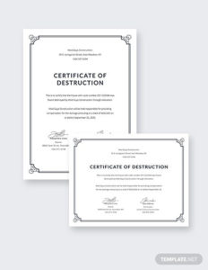 12+ Certificate Of Destruction Template Pdf, Word, Ai Intended For Quality Free Certificate Of Destruction Template