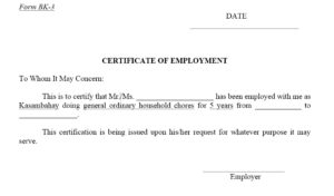 12 Free Sample Employment Certificate Templates Printable Throughout Printable Sample Certificate Employment Template
