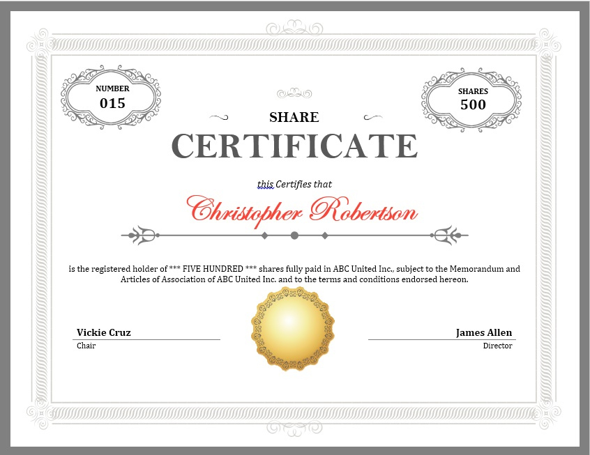 12 Free Sample Stock Shares Certificate Templates With Regard To Best Template Of Share Certificate