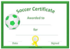 13 Free Sample Soccer Certificate Templates Printable Samples For Best Soccer Certificate Template