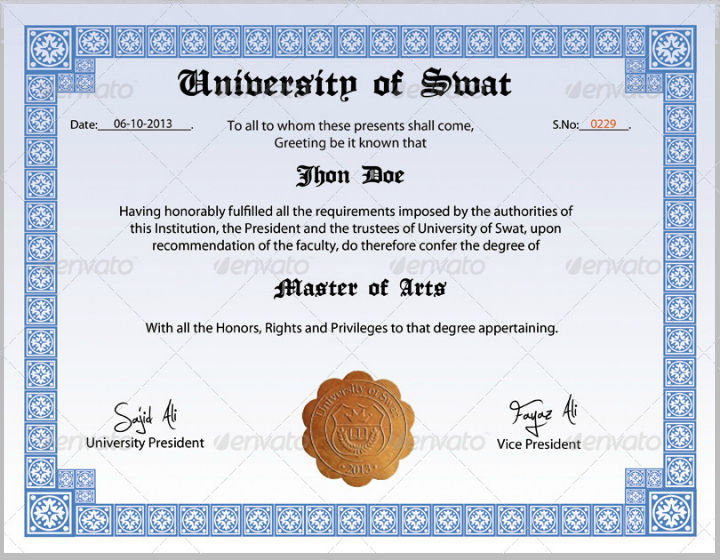 14+ Useful Degree Certificate Designs & Templates Psd, Ai With Regard To Professional College Graduation Certificate Template