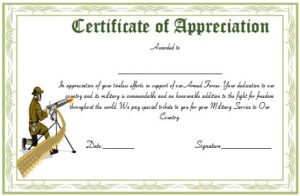 20+ Professional Army Certificate Of Appreciation Templates With Regard To Army Certificate Of Appreciation Template