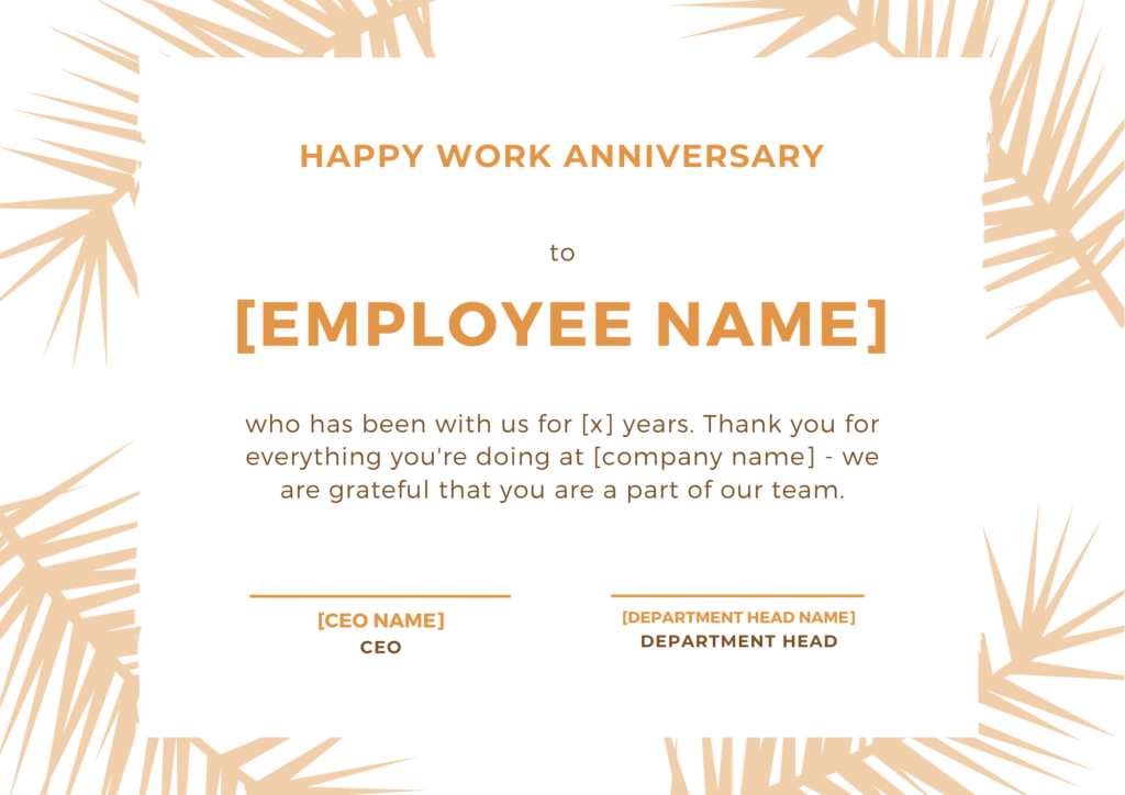 30 Employee Work Anniversary Ideas, Messages, Emails And With Regard To Free Employee Anniversary Certificate Template