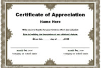 30 Free Certificate Of Appreciation Templates And Letters In Printable Thanks Certificate Template