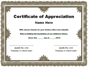 30 Free Certificate Of Appreciation Templates And Letters With Regard To Free Certificate Of Appreciation Template Free Printable