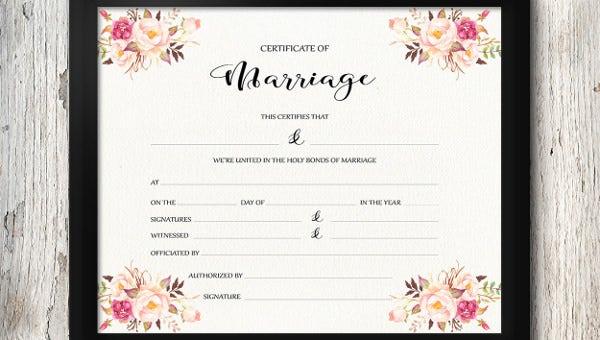 30+ Wedding Certificate Templates – Free Sample, Example Regarding Printable Certificate Of Marriage Template