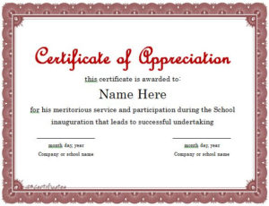 31 Free Certificate Of Appreciation Templates And Letters Throughout Free Certificate Of Appreciation Template Free Printable