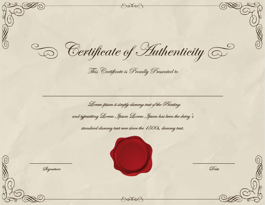 37 Certificate Of Authenticity Templates (Art, Car For Certificate Of Authenticity Template