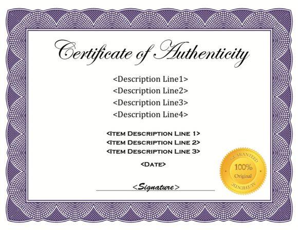 37 Certificate Of Authenticity Templates (Art, Car With Regard To Certificate Of Authenticity Template