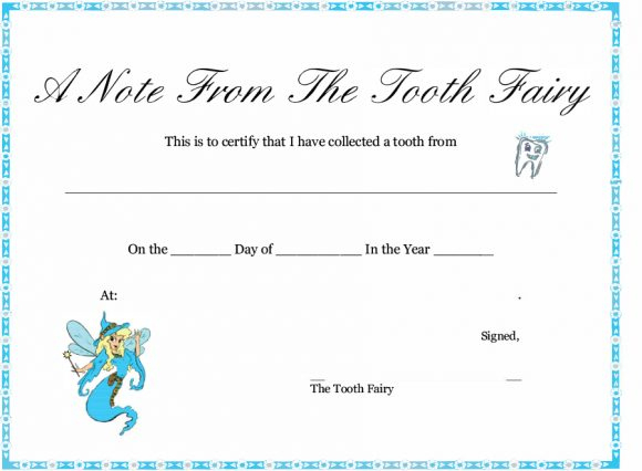 37 Tooth Fairy Certificates & Letter Templates Printable Within Tooth Fairy Certificate Template Free