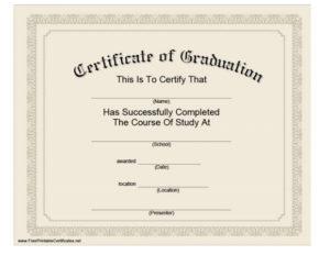 40+ Graduation Certificate Templates & Diplomas Printable With College Graduation Certificate Template