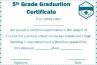 5Th Grade Graduation Certificate Template Free | Graduation Regarding 5Th Grade Graduation Certificate Template