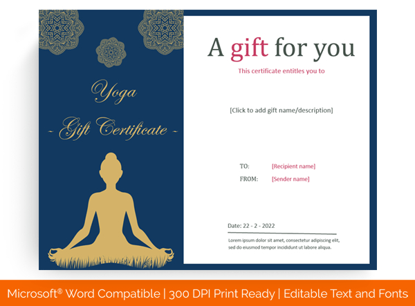 6+ Yoga Gift Certificate Templates (In Word, Pdf Format) Pertaining To Yoga Gift Certificate Template Free