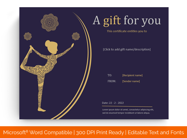 6+ Yoga Gift Certificate Templates (In Word, Pdf Format) Throughout Yoga Gift Certificate Template Free