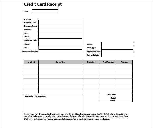 7+ Credit Card Receipt Templates Pdf | Free & Premium Throughout Printable Credit Card Receipt Template