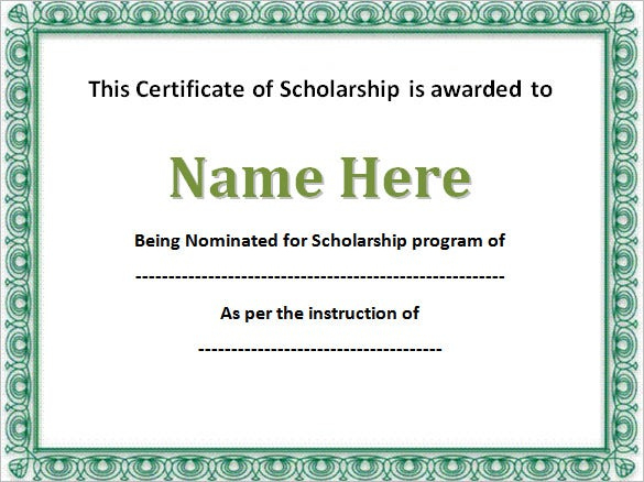 7+ Scholarship Certificate Templates Word, Psd For Quality Scholarship Certificate Template Word
