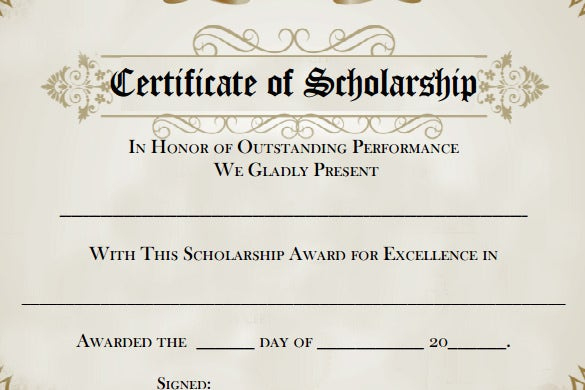 7+ Scholarship Certificate Templates Word, Psd Regarding Scholarship Certificate Template Word