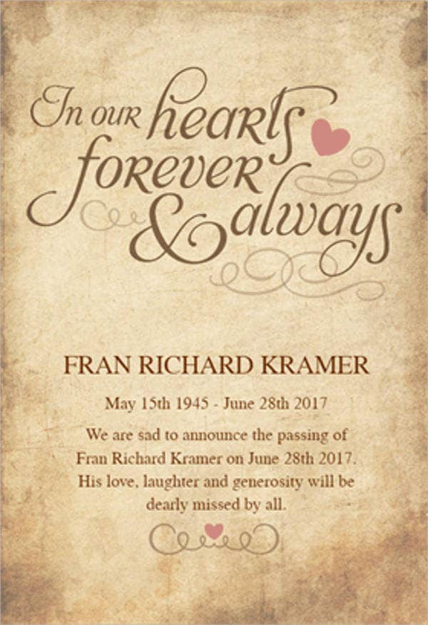 76+ Sample Invitation Cards Word, Psd, Ai, Indesign   Free Within Printable Death Anniversary Cards Templates