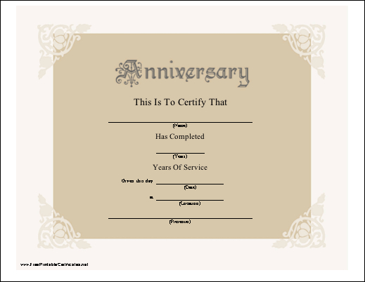 A Beautiful Anniversary Certificate Honoring Years Of With Regard To Employee Anniversary Certificate Template