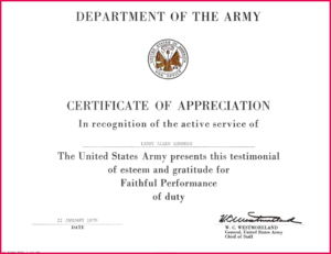 Army Certificate Of Appreciation Template (11 Regarding Best Army Certificate Of Appreciation Template