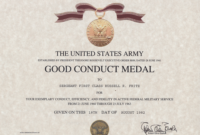 Army Good Conduct Medal Certificate Within Printable Army Good Conduct Medal Certificate Template