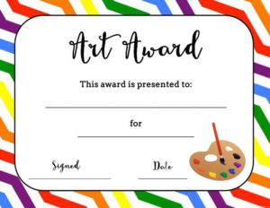 Art Award Certificate (Free Printable) | Printable Art With Free Art Certificate Templates
