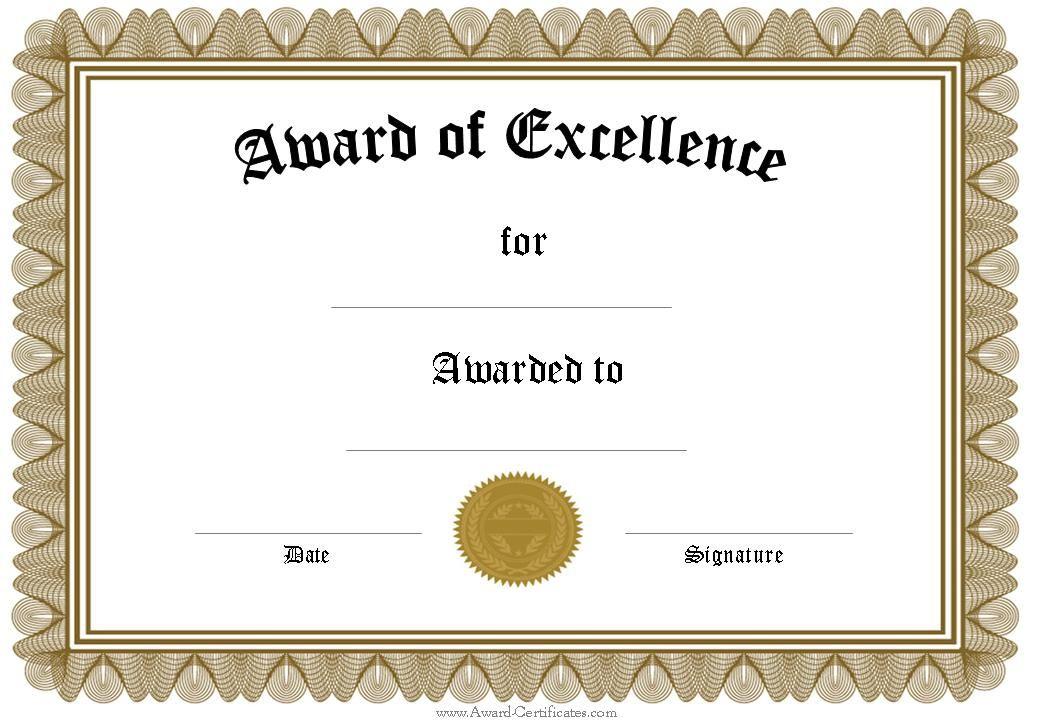 Award Certificate Templates | Free Certificate Templates Intended For Template For Certificate Of Award
