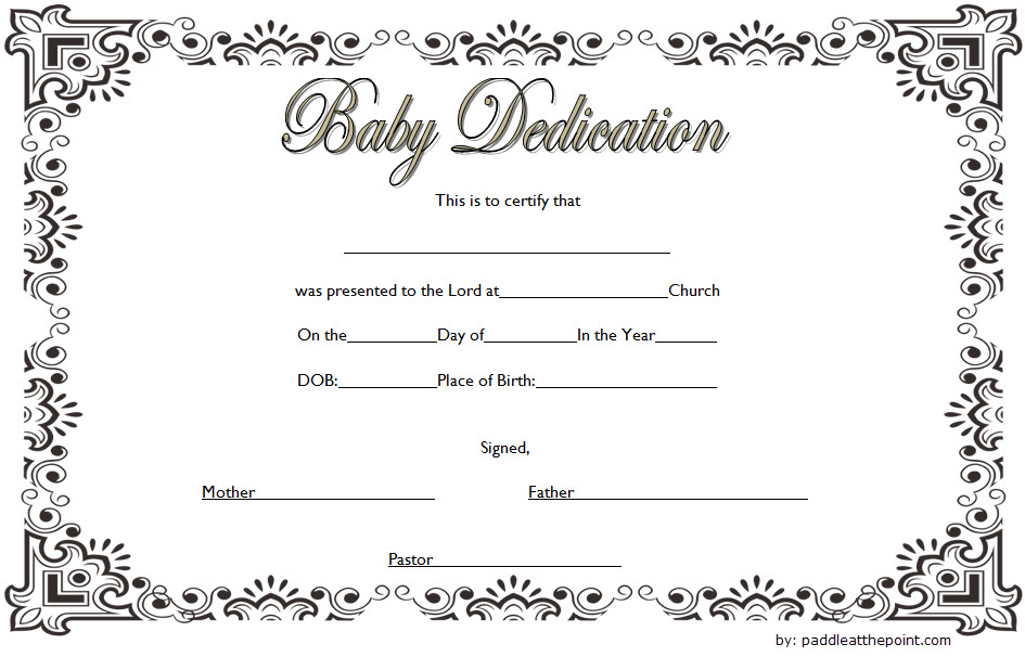 Baby Dedication Certificate Template (3) | Professional Throughout 11+ Baby Dedication Certificate Template
