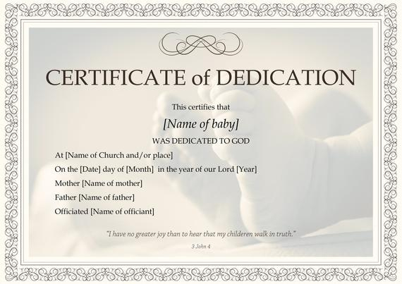 Baby Dedication Certificate Template | Boy Or Girl | Instant Download | Print At Home | Gift | Baptism | Dedication To The Lord Intended For 11+ Baby Dedication Certificate Template