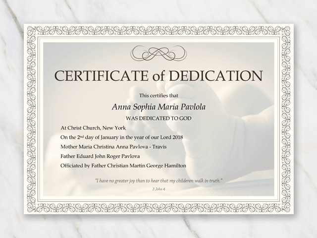 Baby Dedication Certificate Template In 2020 | Baby Inside Baby Dedication Certificate Template