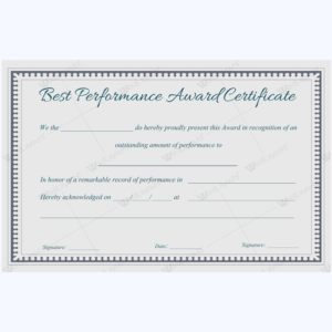 Best Performance Award Certificate 08 Word Layouts | Award With Best Performance Certificate Template