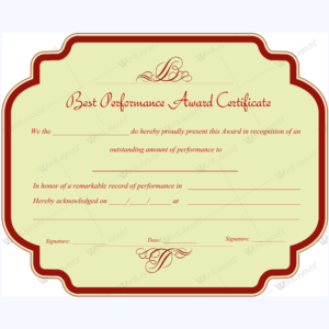 Best Performance Award Certificate 10 Word Layouts Within Professional Best Performance Certificate Template