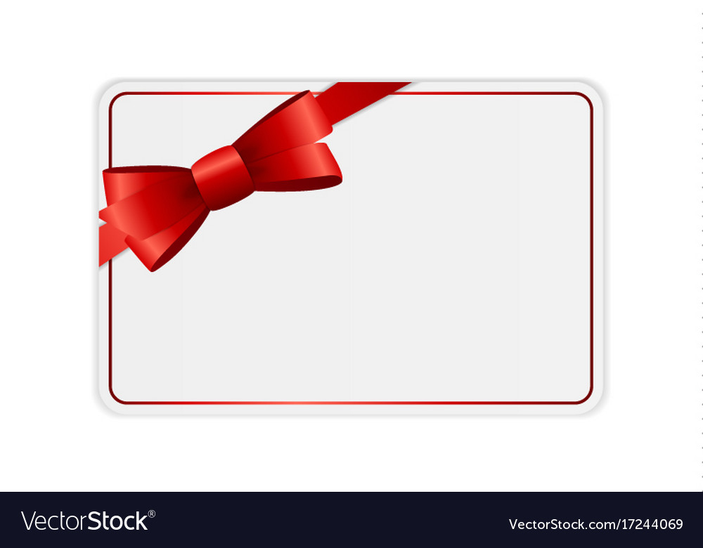Blank Gift Card Template With Bow And Ribbon Vector Image In Present Card Template
