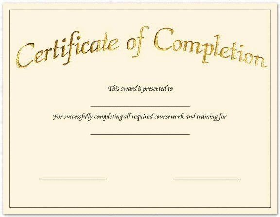 Blank Printable Certificate Of Achievement In 2020 Regarding Certificate Of Completion Template Free Printable