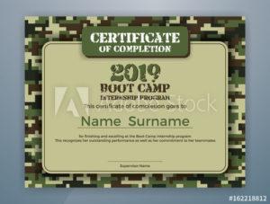 Boot Camp Internship Program Certificate Template Design Inside Printable Boot Camp Certificate Template