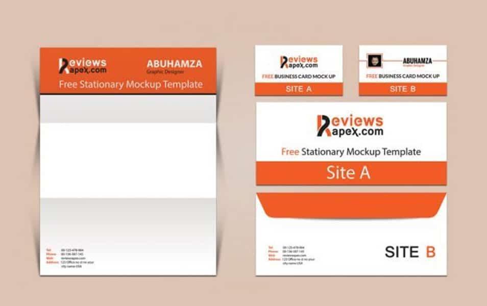 Brand Identity Business Card, Letterhead & Envelope Mockup Intended For Quality Business Card Letterhead Envelope Template