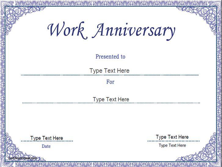Business Certificate Work Anniversary Certificate Template Regarding Free Employee Anniversary Certificate Template