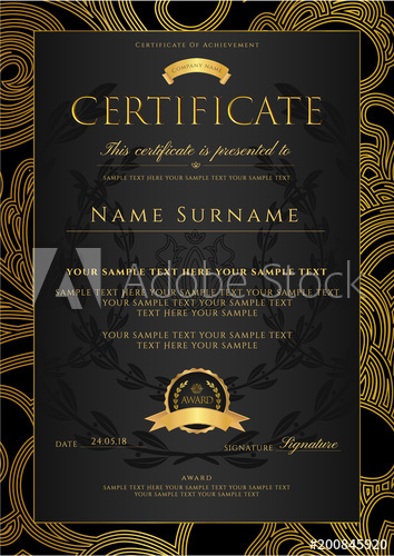 Certificate, Diploma (Golden Design Template, Colorful For 11+ Certificate Scroll Template
