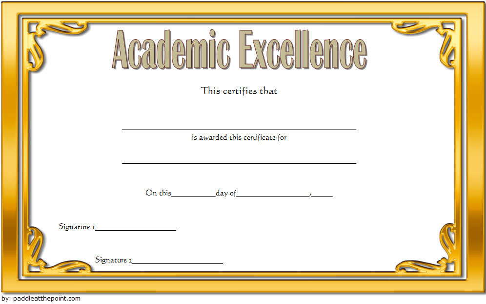 Certificate Of Academic Excellence Award Free Editable 2 Regarding Academic Award Certificate Template