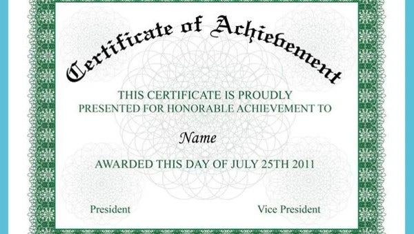 Certificate Of Achievement 15+ Pdf, Psd, Ai, Word Inside Certificate Of Accomplishment Template Free