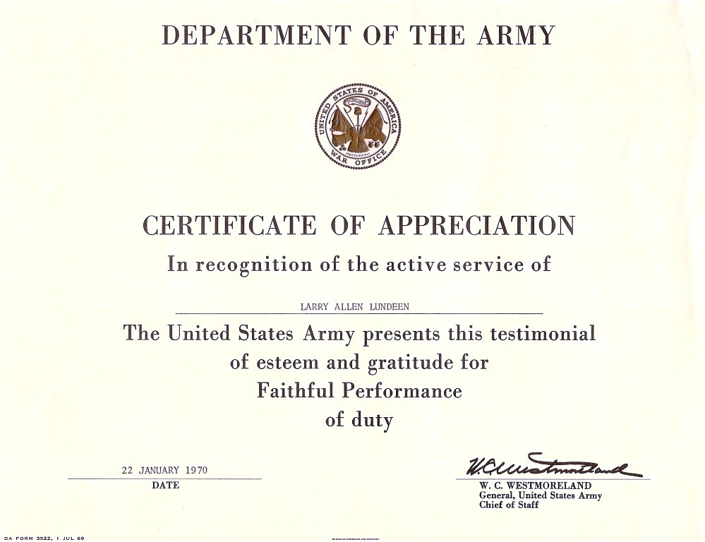 Certificate Of Achievement Army Template (1) Templates In Army Certificate Of Appreciation Template