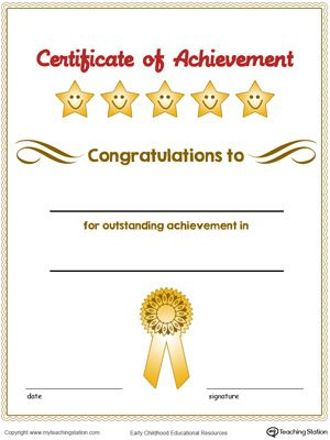 Certificate Of Achievement Award In Color   Certificate Of For Certificate Of Accomplishment Template Free