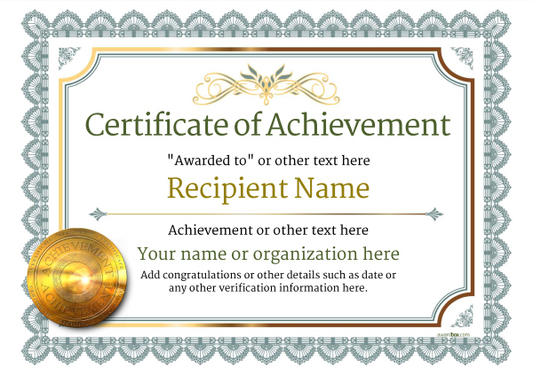 Certificate Of Achievement Free Templates Easy To Use Within Printable Template For Certificate Of Award
