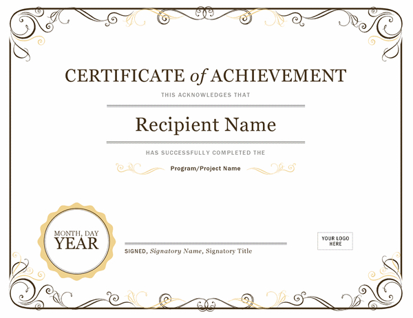 Certificate Of Achievement Pertaining To Quality Certificate Of Accomplishment Template Free
