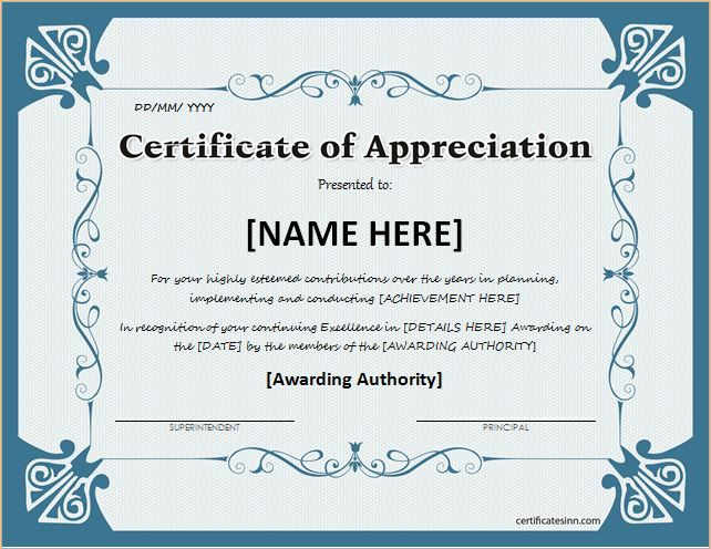 Certificate Of Appreciation For Ms Word Download At Http Throughout Printable Certificate Of Recognition Word Template