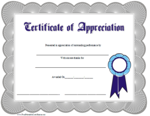 Certificate Of Appreciation Printable Certificate Within Certificate Of Appreciation Template Free Printable
